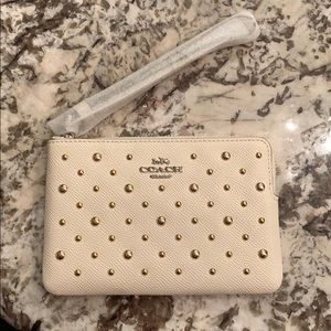 Coach Wristlet White/Chalk with Gold Studs! NEW